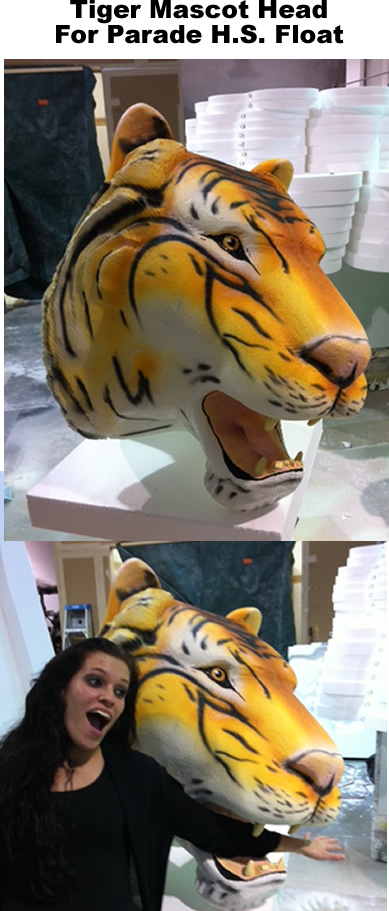 big foam tiger head prop for parade float