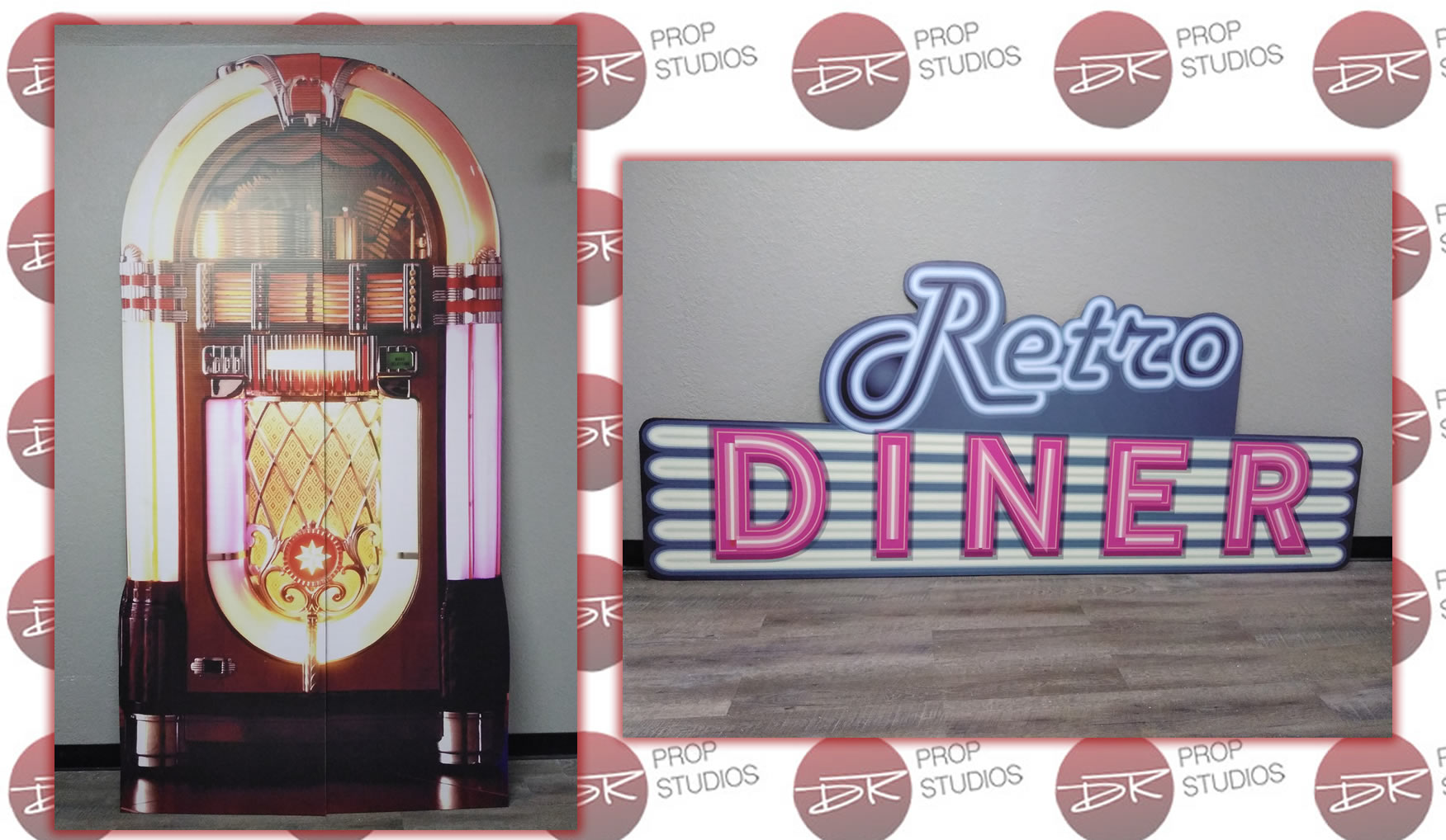 1950s Jukebox and Retro Diner Cardboard Cutout Standup Props for parties and events