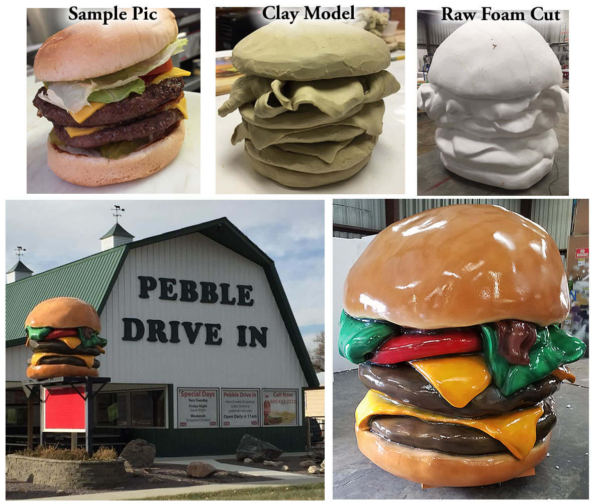 Custom Foam Cheeseburger Burger Prop and Display for retail restaurant outdoor sign