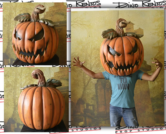 Giant Custom Foam Big Head Scary Pumpkin Wearable Costume Prop
