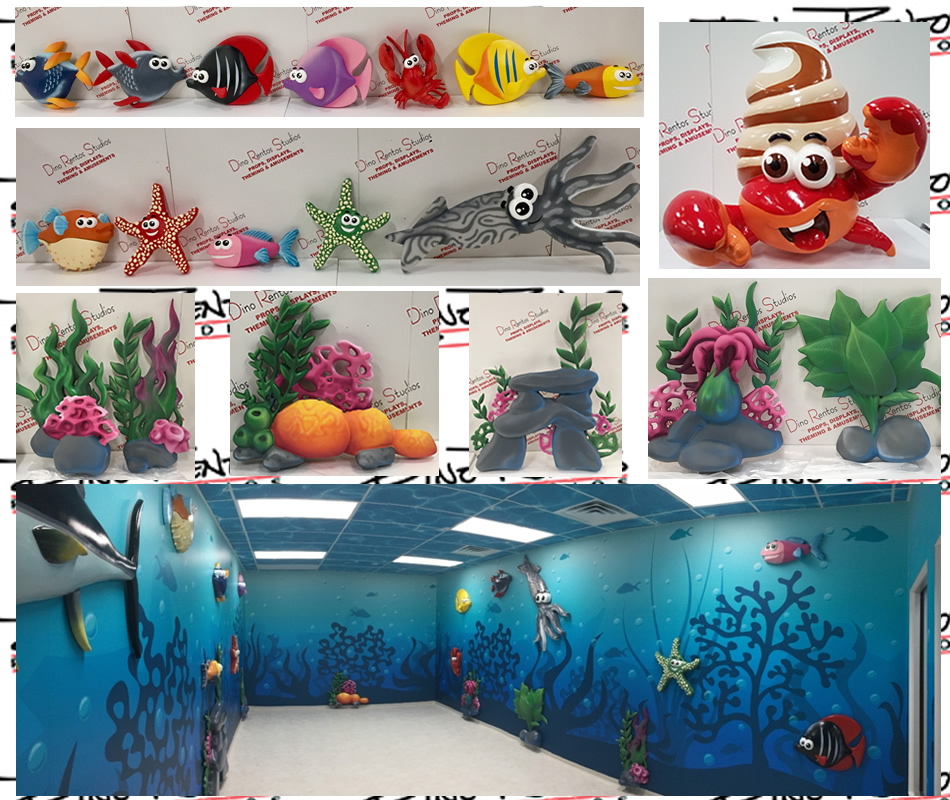 Large Giant Fish & Sea Plants Foam Props for retail store display