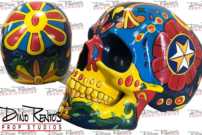 Large Foam Scenic Sugar Skull Sculptures for retail and tradeshow displays