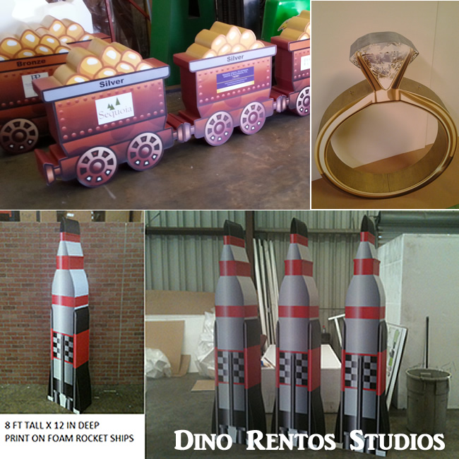 Mining Carts Ring Rocket Ship Print on Foam Sculpture Prop