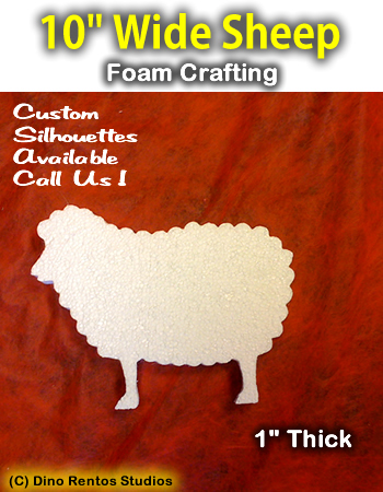 10 Inch Sheep Foam Shape Silhouette