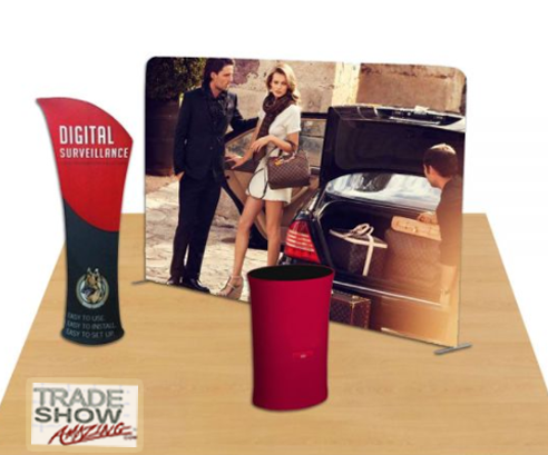 10ft Straight Portable Fabric Tension Exhibition Display System- Style B (With Graphic)