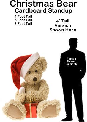 Christmas Bear Cardboard Cutout Standup Prop