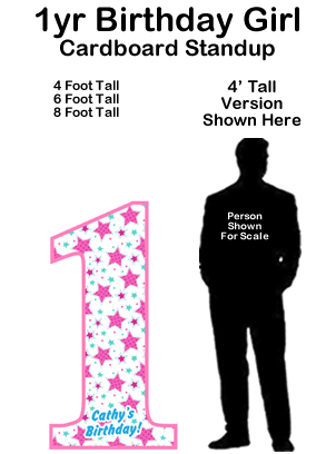 1 Year Birthday Girl Cardboard Cutout Standup Prop