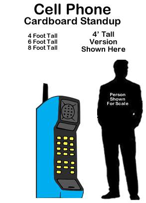 80s Cell Phone Cardboard Cutout Standup Prop