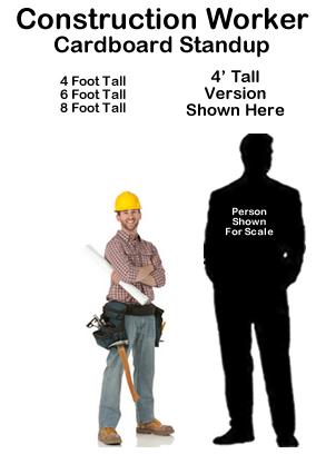 Construction Worker Cardboard Cutout Standup Prop