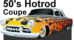 50's Hotrod Coupe Cardboard Cutout Standup Prop