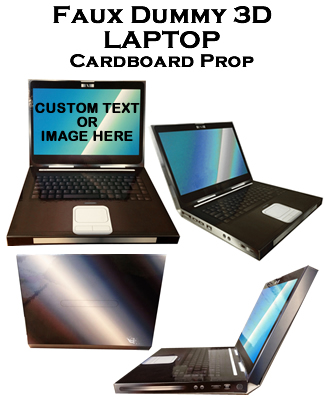 3D Cardboard Fake-Faux-Dummy-Laptop Prop