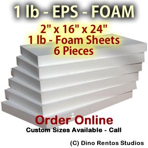 EPS Foam Sheets - 1 lb Density - 2x16x24 - 6 pieces