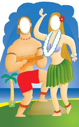 Hawaiians with Ukulele Cardboard Stand-in