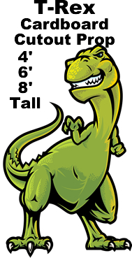 T-Rex Cartoon Cardboard Cutout Standup Prop