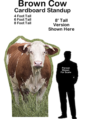 Brown Cow Cardboard Cutout Standup Prop