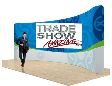 17 FT Curved Back Wall Display with Custom Fabric Graphic