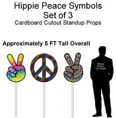 Hippie Peace Symbols Cardboard Cutout Standup Prop - Self Standing - Set of 3