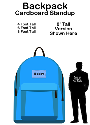 School Backpack Cardboard Cutout Standup Prop