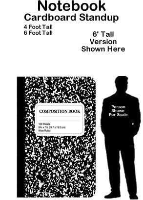 Notebook Cardboard Cutout Standup Prop