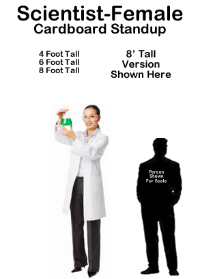 Scientist Female Cardboard Cutout Standup Prop