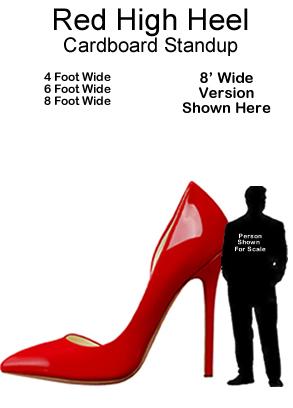 Red High Heel Cardboard Cutout Standup Prop