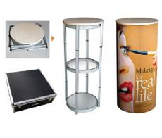 Round Portable Trade Show Counter with Printed Artwork