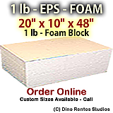 EPS Foam  Block - 1 lb Density - 20x10x48