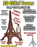 Big 3D Eiffel Tower Foam Display Prop